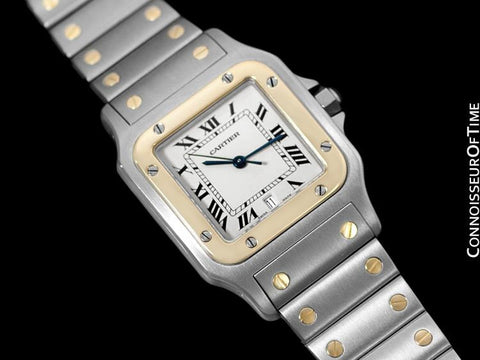 Cartier Santos Galbee Mens Watch with Date - Stainless Steel & 18K Gold