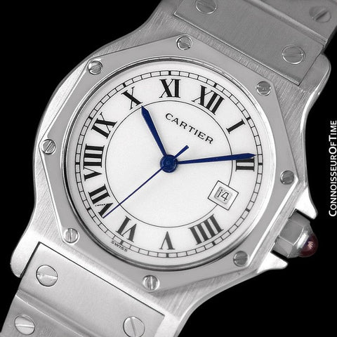 Cartier Santos Octagon Mens Midsize Watch, Automatic - Stainless Steel