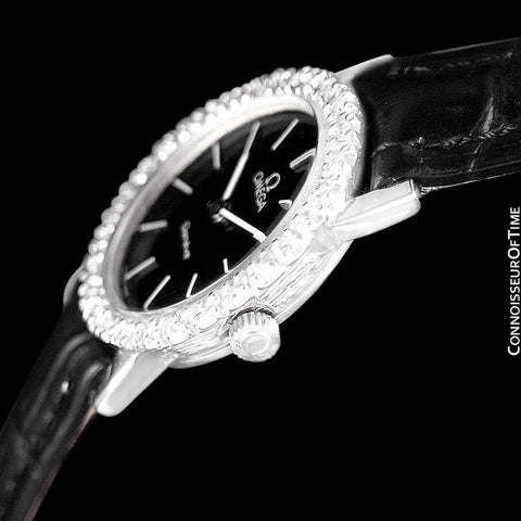 1970's Omega Geneve Vintage Ladies Handwound Watch - Stainless Steel & Diamonds