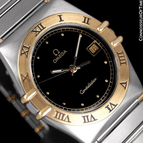 Omega Constellation Mens 35mm Watch, Quartz, Date, Black Dial - Brushed Stainless Steel & 18K Gold