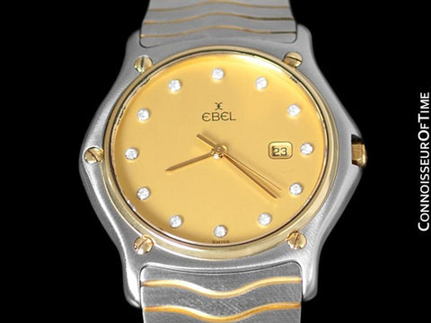 Ebel Classic Wave Unisex Mens Midsize - Stainless Steel, 18K Gold, and Ebel Factory Diamonds