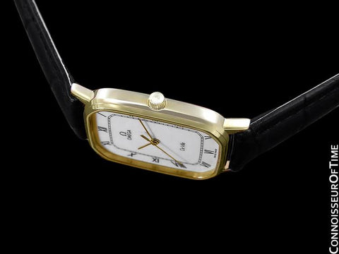 1983 Omega De Ville Vintage Mens Ultra Thin Dress Watch - 18K Gold Plated & Stainless Steel