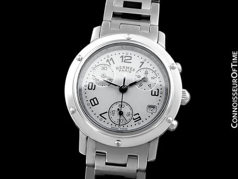 Hermes Mens Midsize / Ladies Clipper Chronograph Quartz Watch - Stainless Steel