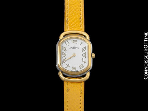 Hermes Midsize Rallye Ladies Watch - 18K Gold Plated & Stainless Steel