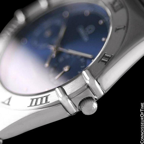 Omega Constellation Mens 35mm Day-Date Quartz Watch, Royal Blue Dial - Stainless Steel