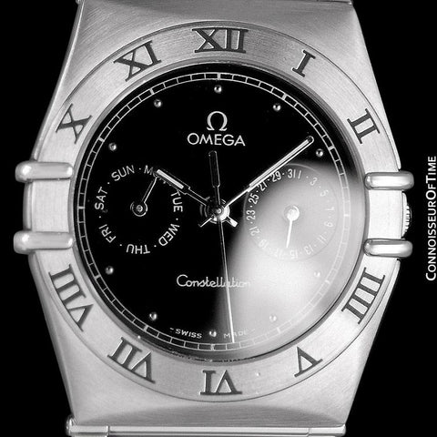 Omega Constellation Mens 35mm Day-Date Watch, Black Dial, Quartz - Stainless Steel