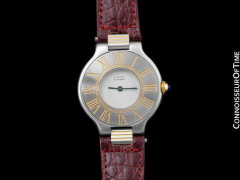 Must De Cartier 21C Ladies Watch - Stainless Steel & 18K Gold