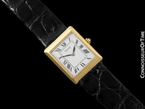 1980 Piaget Ladies / Midsize Vintage Rectangular Handwound Watch - 18K Gold
