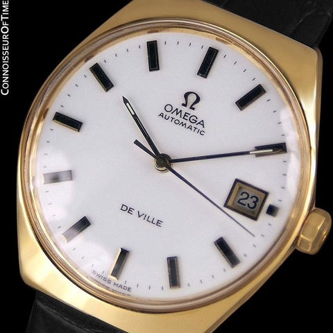 1970's Omega De Ville Vintage Mens Automatic Classic Retro Watch - 18K Gold Plated