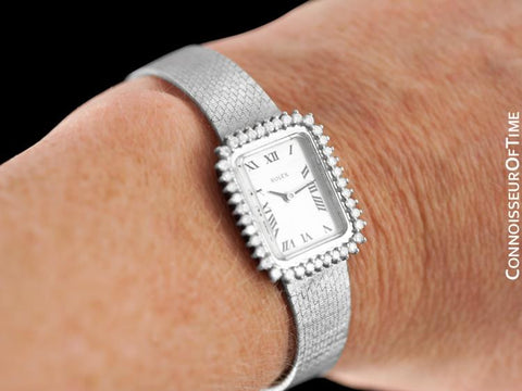 1980's Rolex Ladies Vintage Dress Bracelet Watch - 14K White Gold & Diamonds