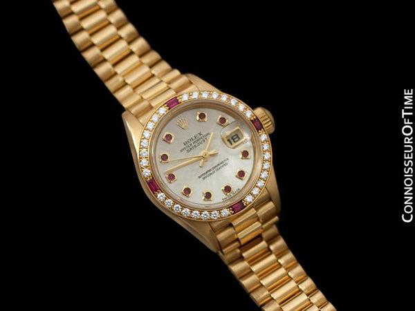 Rolex Ladies President Datejust Crown Collection, Ref. 79068 - 18K Gold & Factory Diamonds & Rubies