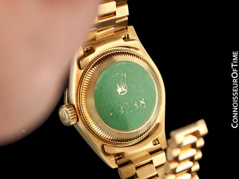 "Rolex Ladies ""Crown Collection"" President with Papers, Ref. 69238 - 18K Gold & Factory Diamonds"