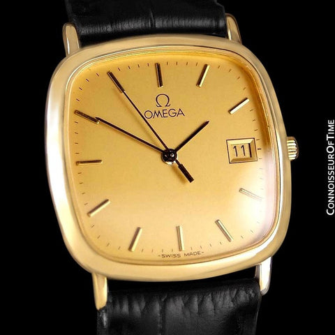 Omega De Ville Mens Midsize Dress Watch with Quick-Setting Date - 18K Gold Plated and Stainless Steel