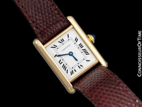 1979 Cartier Vintage Ladies Tank Watch with Deployment Buckle - Solid 18K Gold