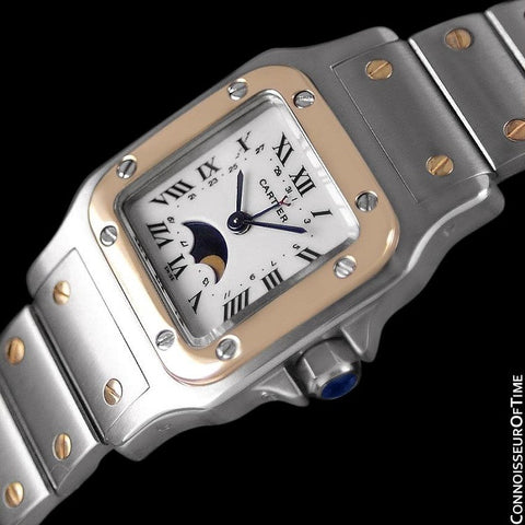 Cartier Ladies Santos Two-Tone Moon Phase Watch - Stainless Steel & 18K Gold