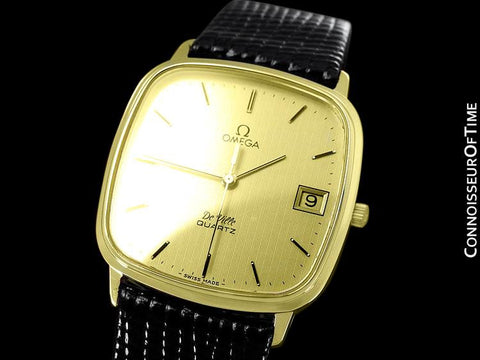 1980 Omega De Ville Classic Retro Mens Accuset Watch, Quick-Setting Hour, Date - 18K Gold Plated & Stainless Steel