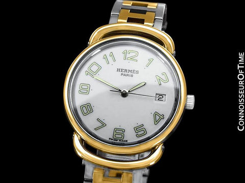 Hermes Mens Midsize Unisex Pullman Watch with Bracelet - 18K Gold Plated & Stainless Steel