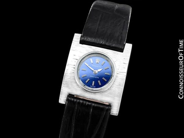 1961 Rolex Precision Ladies Vintage Pre-Cellini Dress Watch, Blue Dial - 18K White Gold