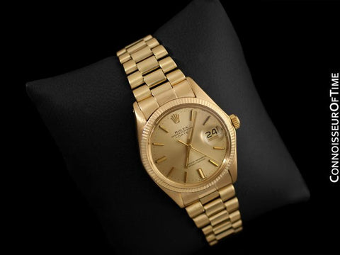 1972 Rolex Oyster Perpetual Date Mens Watch (Datejust President Bracelet), Champagne Dial - 18K Gold