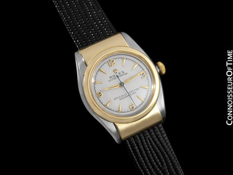 1940's Rolex Vintage Oyster Perpetual Bubble Bubbleback Ref. 3065, Gold & Stainless Steel - Hooded Model
