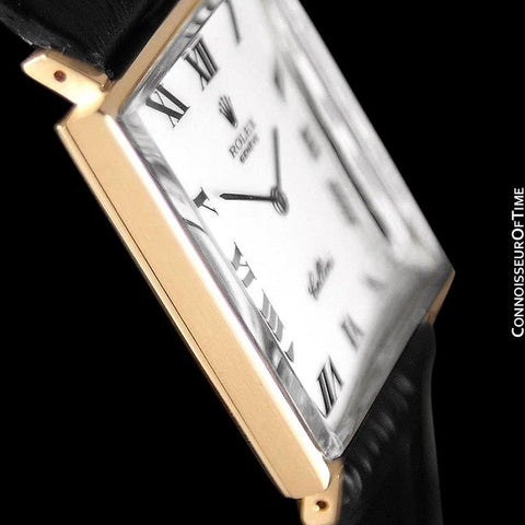 1960's Rolex Cellini Vintage Mens Midsize Rectangular Handwound Watch, White Dial, Ref. 3603 - 18K Gold