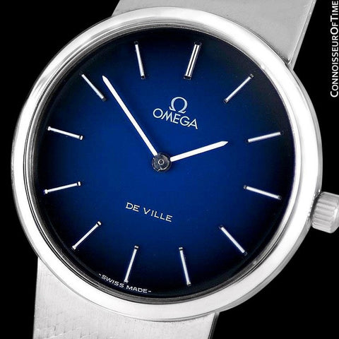 1977 Omega De Ville Vintage Mens Handwound Dress Watch, Blue Vignette Dial - Stainless Steel