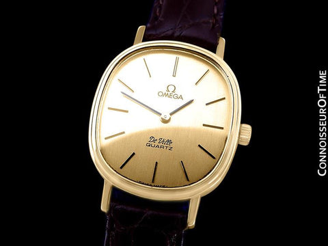 1980 Omega De Ville Vintage Mens Midsize Watch - 18K Gold Plated & Stainless Steel