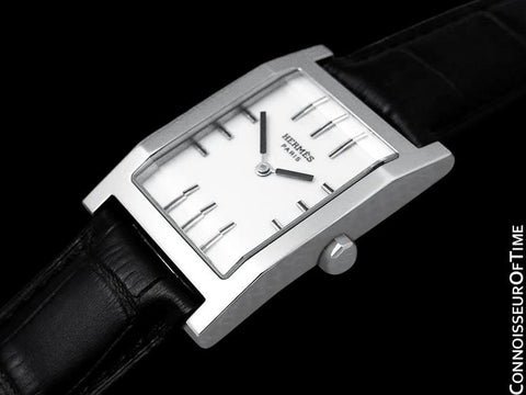 Hermes Mens Unisex Tandem Rectangular Watch Ref. TA1.710 - Stainless Steel