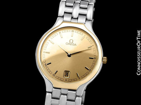 "Omega De Ville ""Symbol"" Mens Quartz Dress Watch - Stainless Steel & Solid 18K Gold"