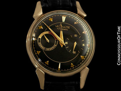 1953 LeCoultre Futurematic Vintage Mens Black Dial Watch, Bullhorn Lugs - 10K Gold Filled