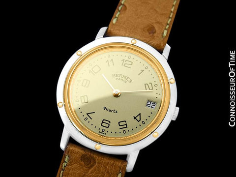 Hermes Mens Clipper 2-Tone Quartz Watch - Stainless Steel & 18K Gold Plated