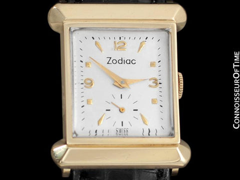 1940's Zodiac Vintage Mens Dress Watch - 14K Gold