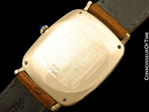 Piaget Vintage Midsize Mens Rectangular Handwound Watch with Sculptured Top - 18K Gold