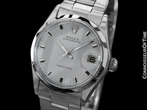 1970 Rolex Vintage Midsize 30mm Oysterdate Precision Date Watch - Stainless Steel