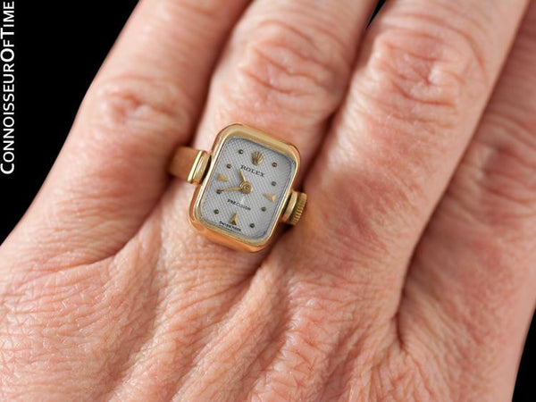 1960's Rolex Vintage Ladies Watch, 18K Gold - Very Rare Ring Watch