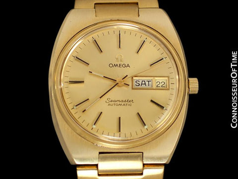 1978 Omega Seamaster Vintage Mens Bracelet Watch, Automatic, Day Date - 18K Gold Plated & Stainless Steel
