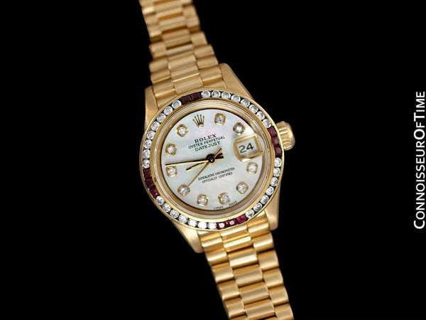 Rolex Ladies President Datejust, 69178 - 18K Gold, Rubies & Diamonds