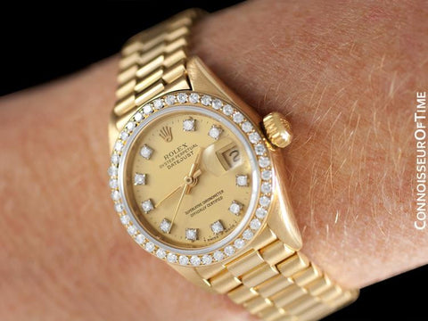 Rolex Ladies President Datejust Crown Collection, 69138 - 18K Gold & Factory Diamonds