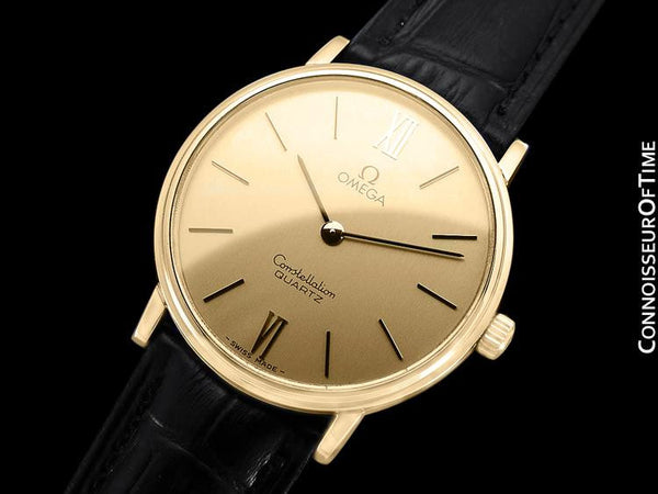 1979 Omega Constellation Mens Vintage Quartz Accuset Watch - 18K Gold Plated & Stainless Steel