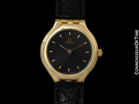 "Omega ""Symbol"" Ladies Dress Waterproof Watch - 18K Gold"