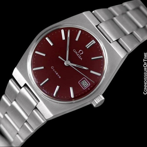 1972 Omega Geneve Vintage Mens Watch, Quick-Setting Date, Red Wine Dial - Stainless Steel