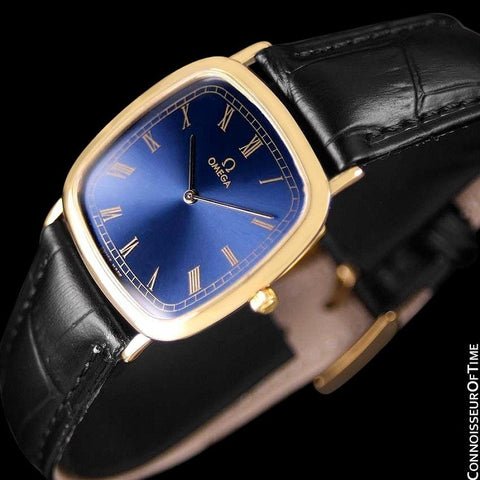 1980's Omega De Ville Vintage Mens Midsize Ultra Thin Dress Watch - 18K Gold Plated & Stainless Steel