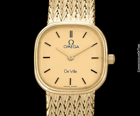 Omega De Ville Ladies Bracelet Dress Quartz Watch - 18K Gold Plated & Stainless Steel