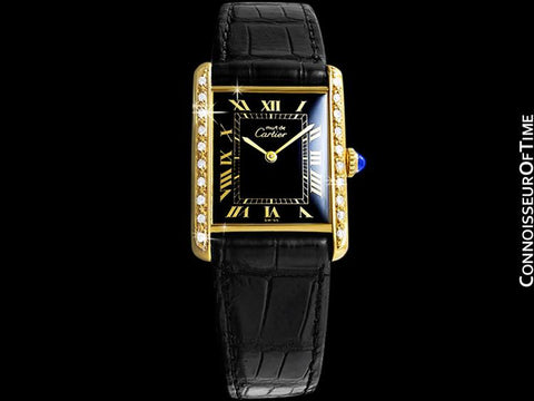Cartier Vintage Mens Tank Mechanical Watch - Gold Vermeil, 18K Gold over Sterling Silver and Diamonds