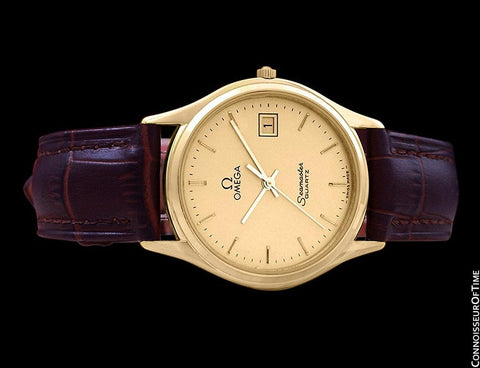 1985 Omega Seamaster Jubilee Vintage Mens Quartz Watch, Quick Setting Date - 18K Gold Plated