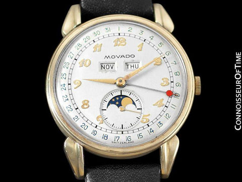 1940's Movado Vintage Triple Calendar Moon Phase - Stainless Steel & 14K Gold - The Celestograph