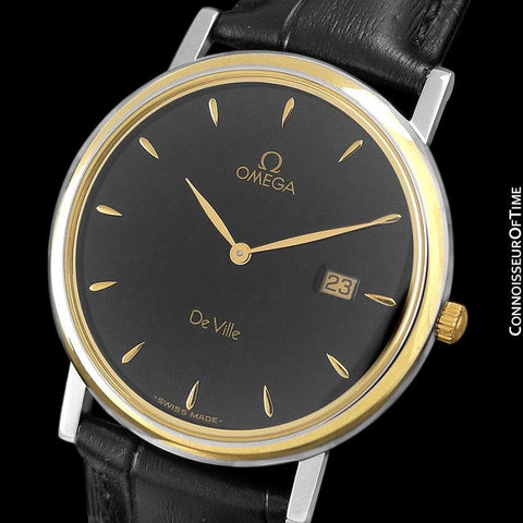 Omega De Ville Mens Midsize Dress Watch with Date - Solid 18K Gold and Stainless Steel