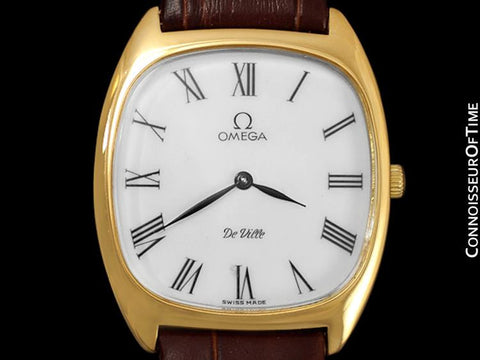 1978 Omega De Ville Vintage Mens Handwound Ultra Thin Dress Watch - 18K Gold Plated & Stainless Steel