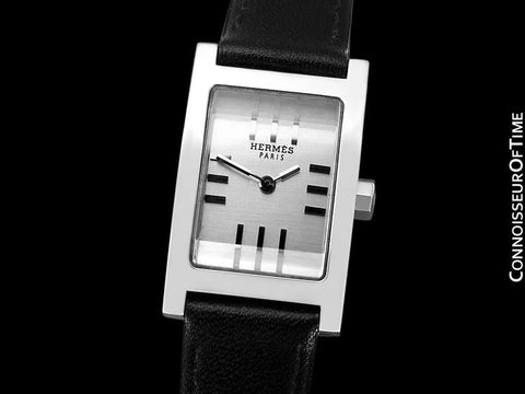 Hermes Ladies Tandem Rectangular Watch - Stainless Steel