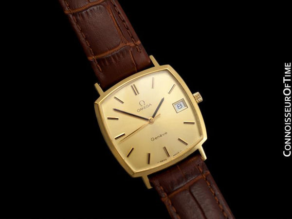 1974 Omega Geneve Vintage Mens Handwound Watch with Quick-Setting Date - 18K Gold